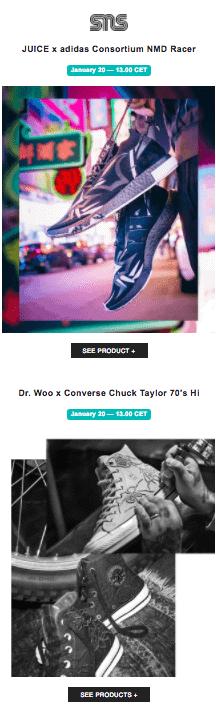 Sneakers and stuff exempel på nyhetsbrev